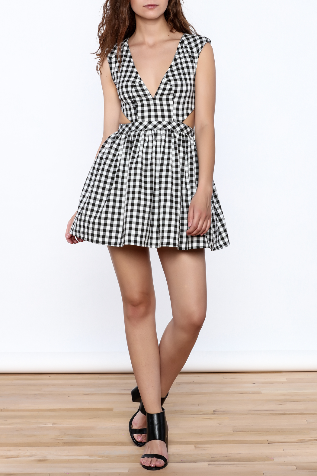 Mustard Seed Check Flared Dress - Front Full Image