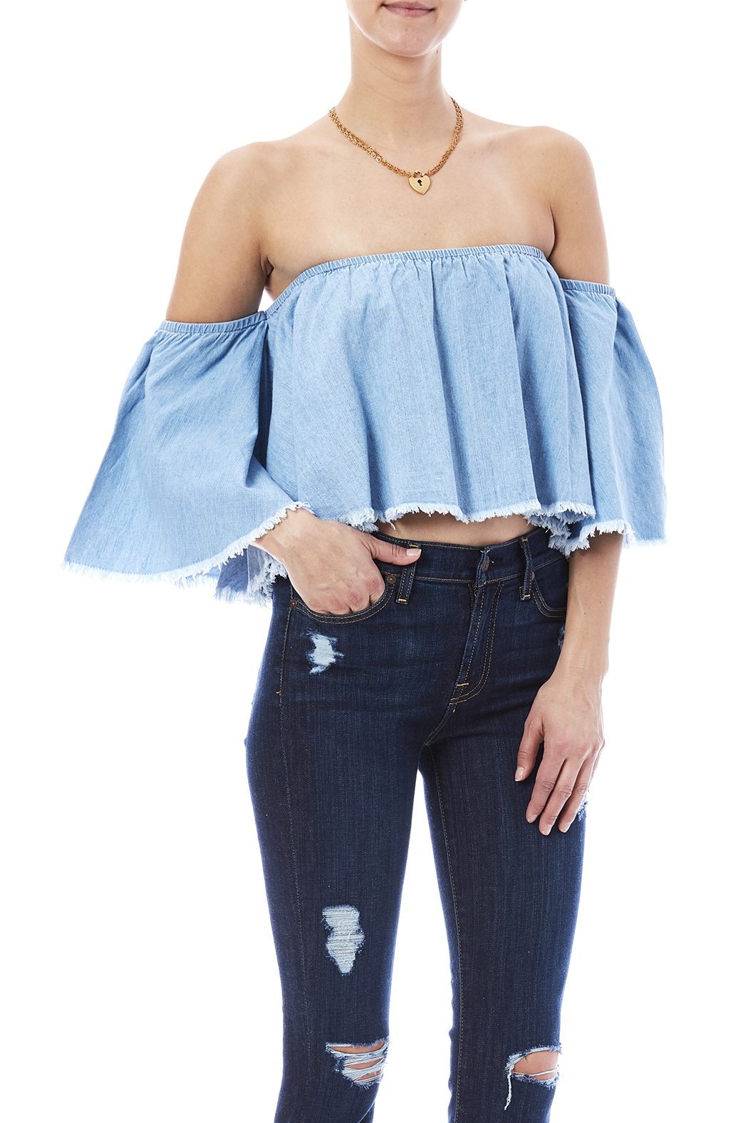 Mustard Seed Denim Crop Top - Front Cropped Image