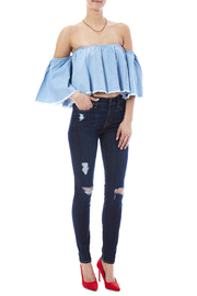 Mustard Seed Denim Crop Top - Front full body