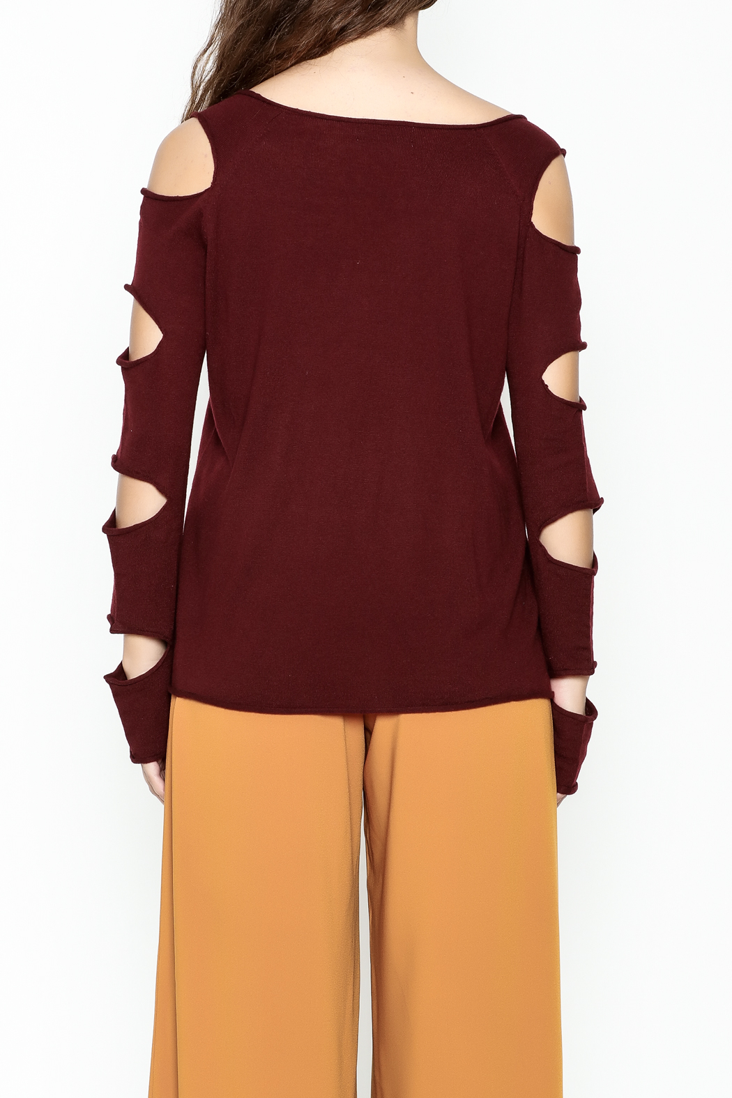 Mustard Seed Distressed Sleeve Sweater - Back Cropped Image