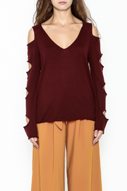 Mustard Seed Distressed Sleeve Sweater - Front full body