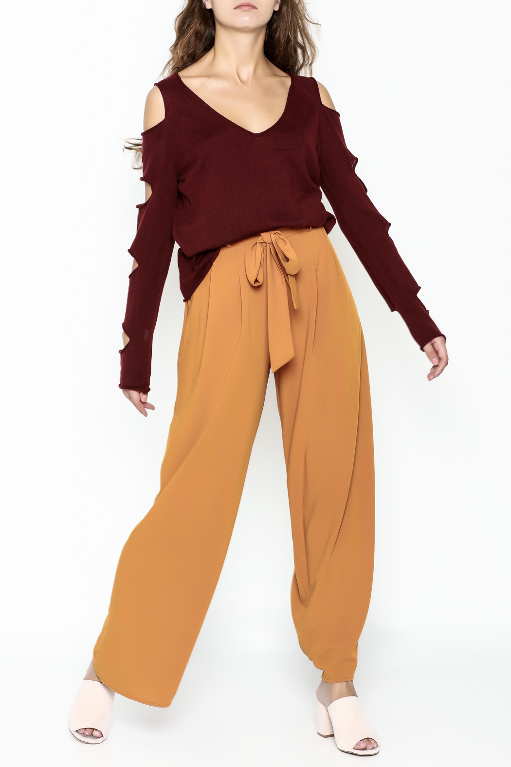 Mustard Seed Distressed Sleeve Sweater - Side Cropped Image
