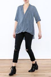 Mustard Seed Drape Wrap Blouse - Front full body