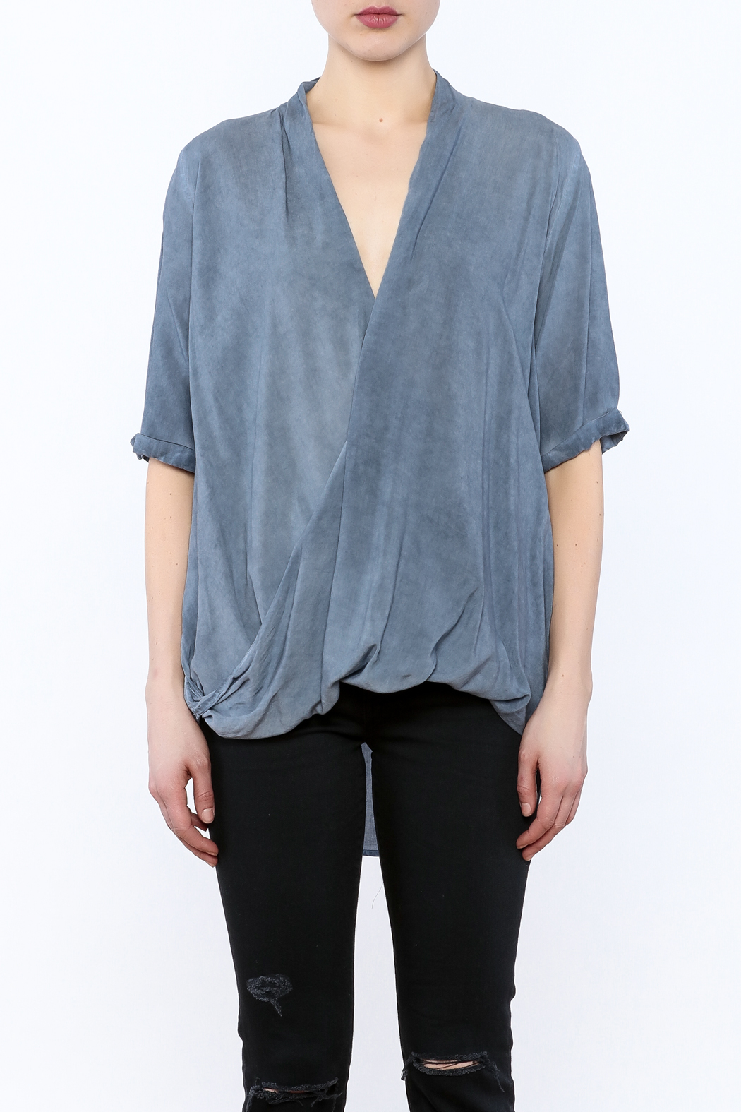 Mustard Seed Drape Wrap Blouse - Side Cropped Image