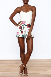 Mustard Seed Floral Print Romper - Front full body