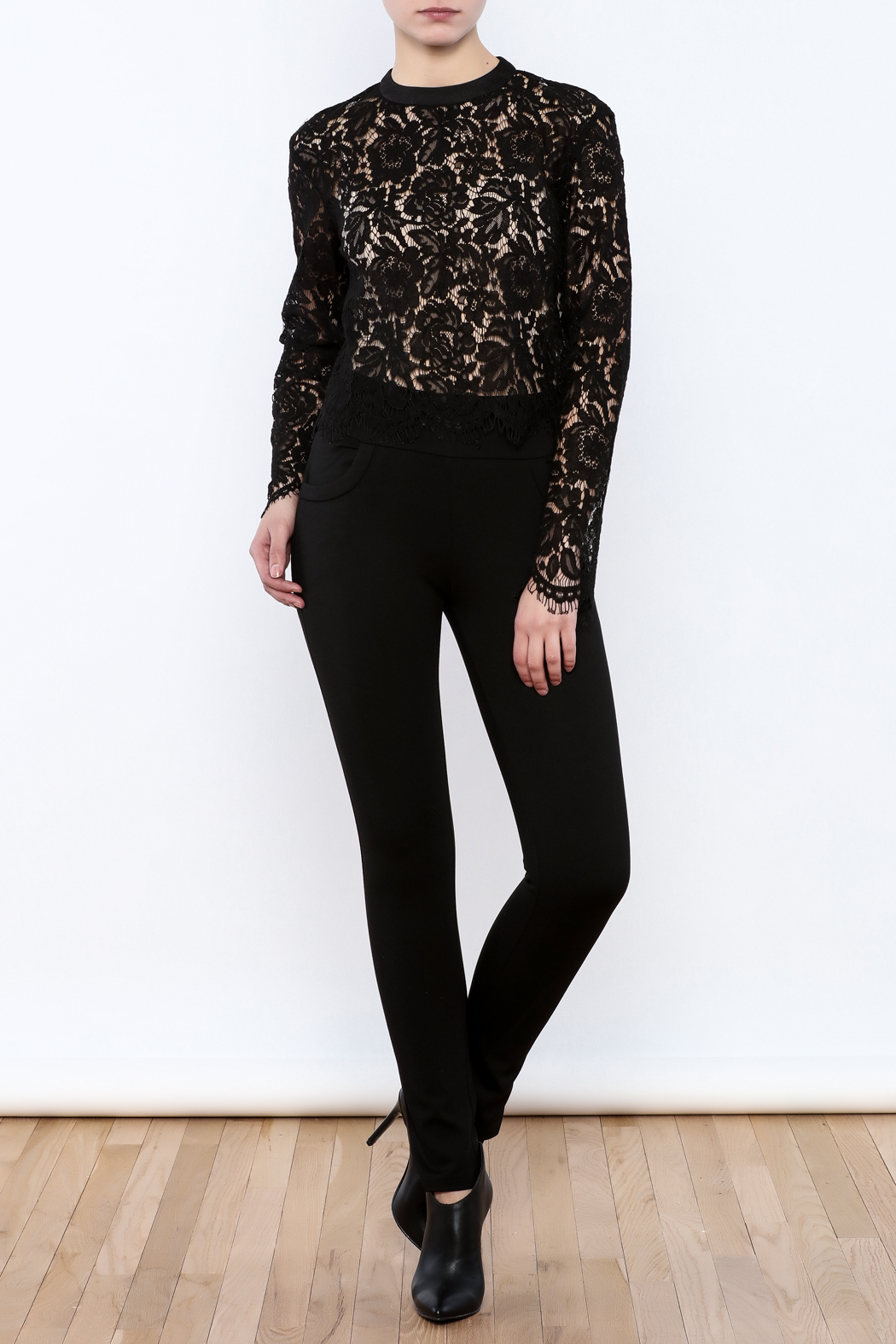 Mustard Seed Lace Sleeve Blouse - Front Full Image