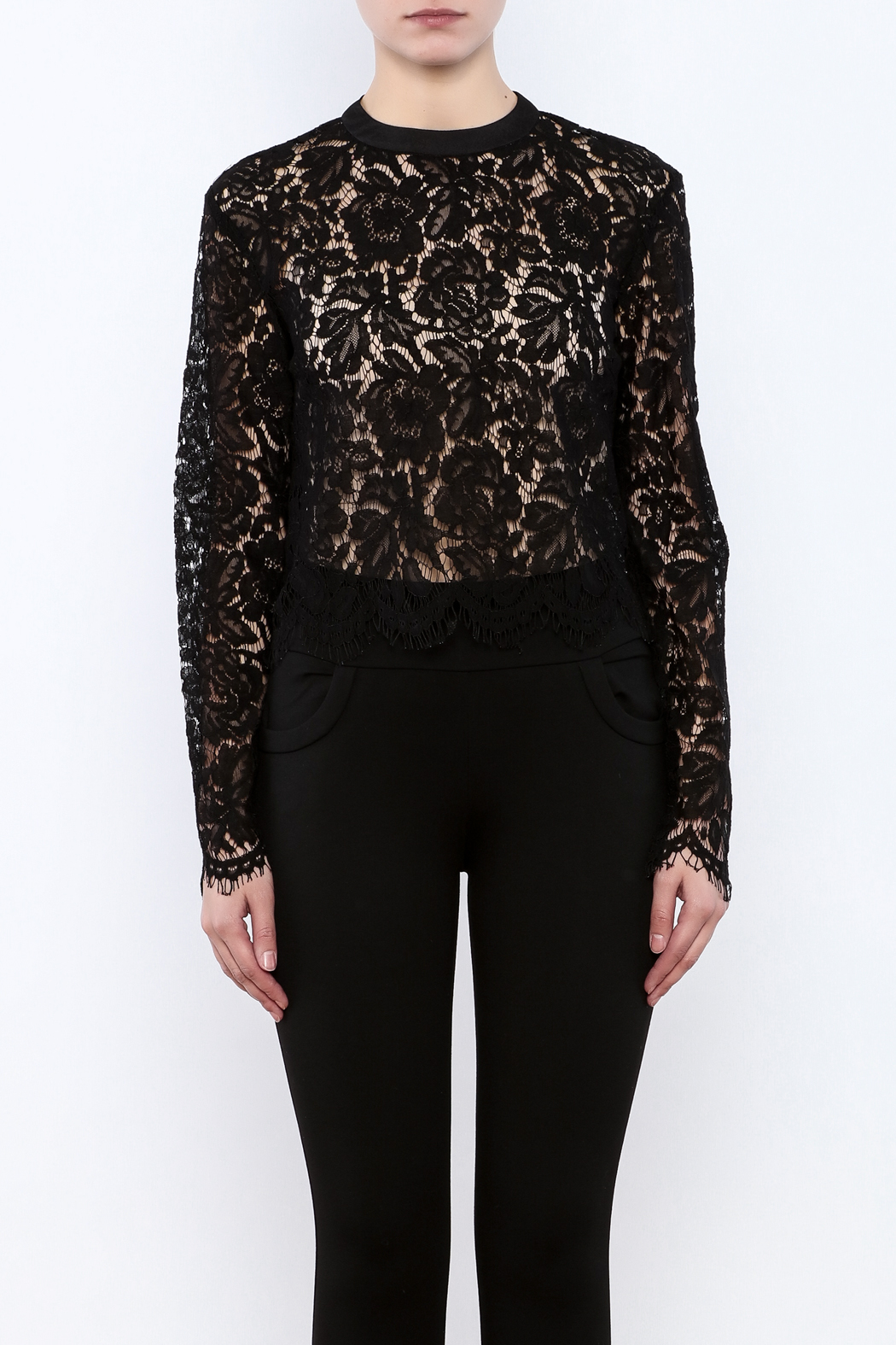 Mustard Seed Lace Sleeve Blouse - Side Cropped Image