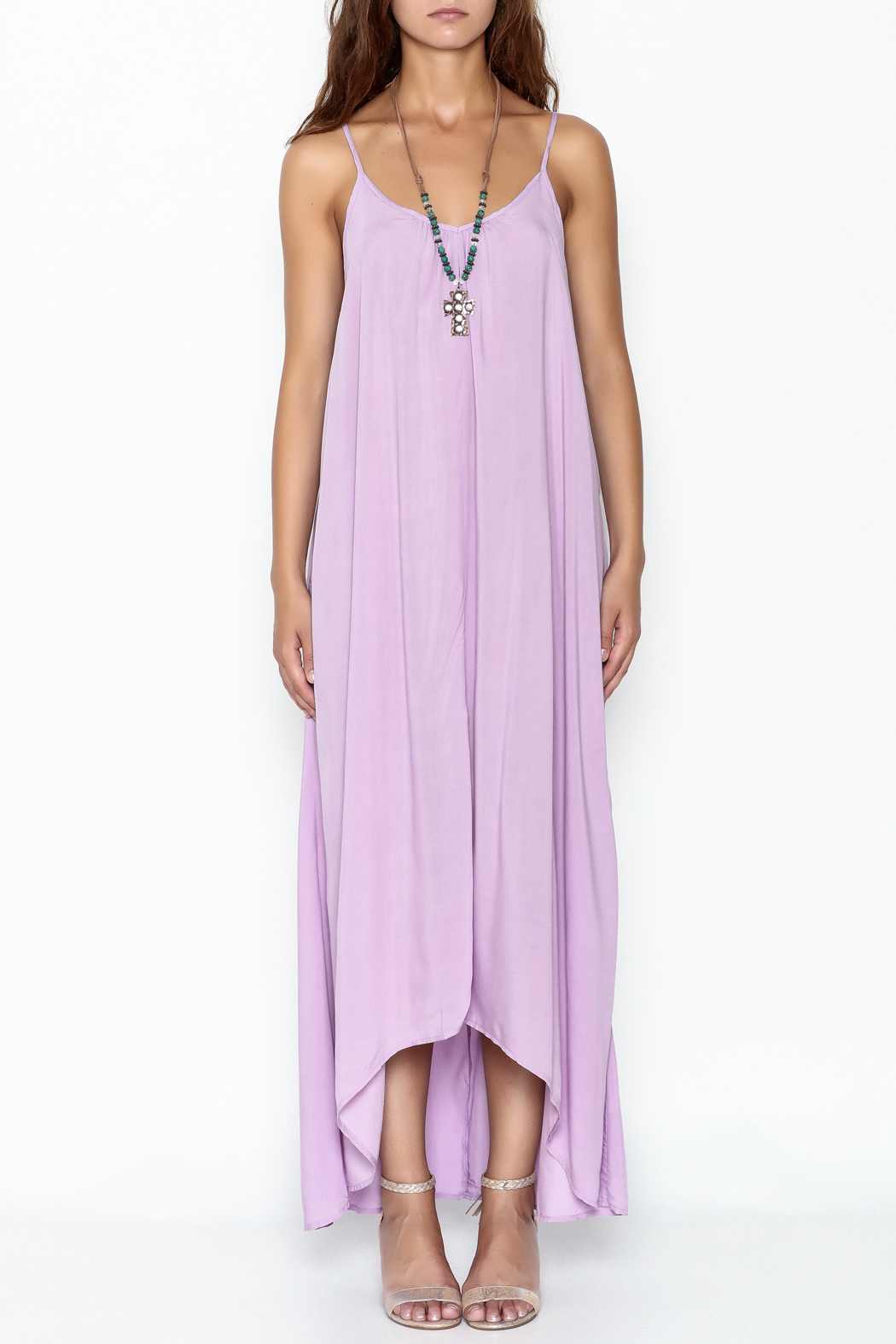 Mustard Seed Lavender Strappy Maxi - Front Full Image