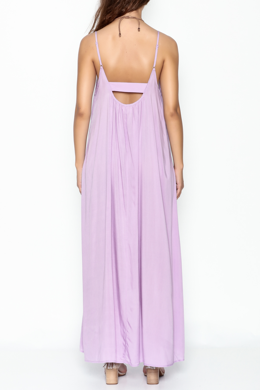 Mustard Seed Lavender Strappy Maxi - Back Cropped Image