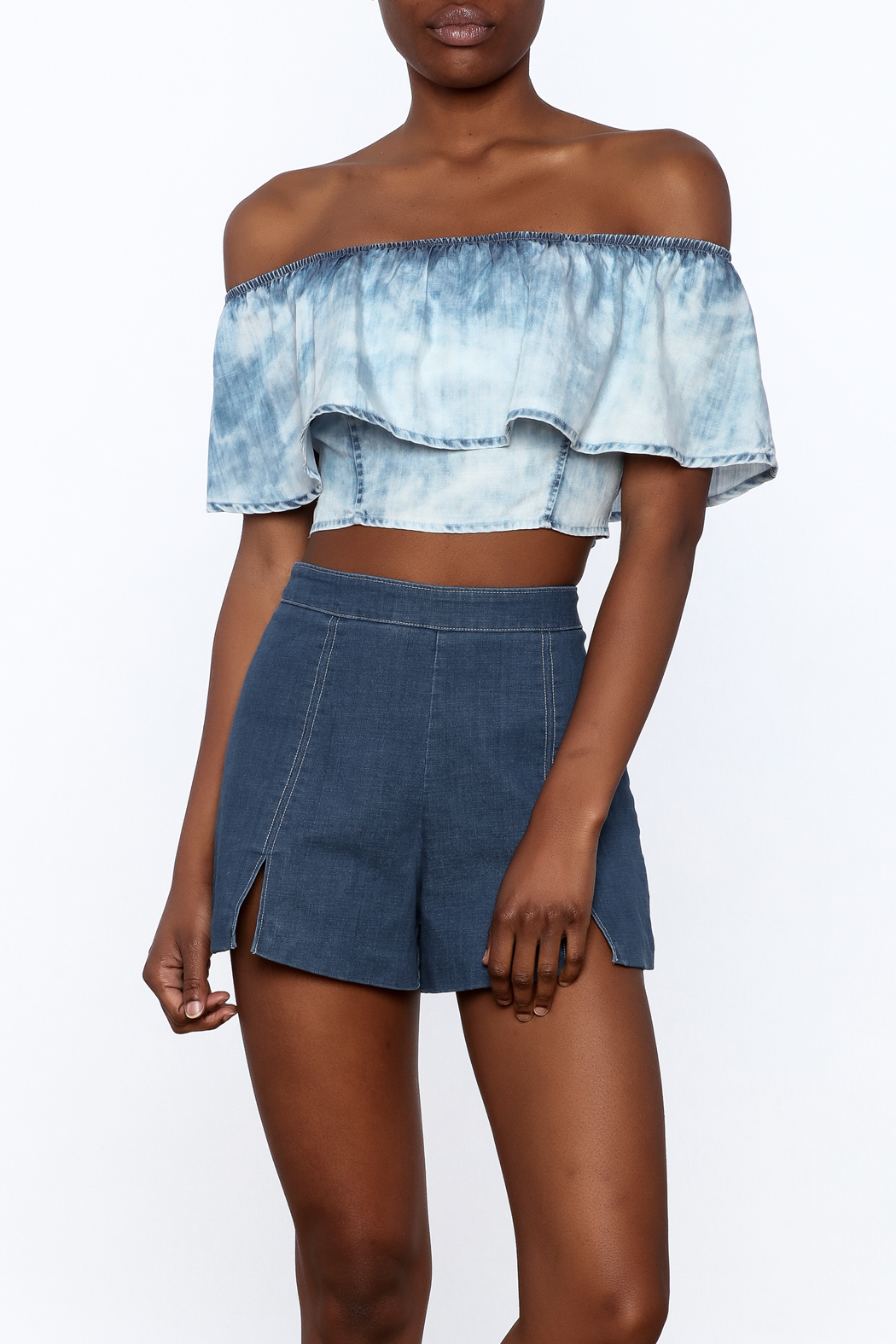 Mustard Seed Acid Wash Crop Top - Front Cropped Image