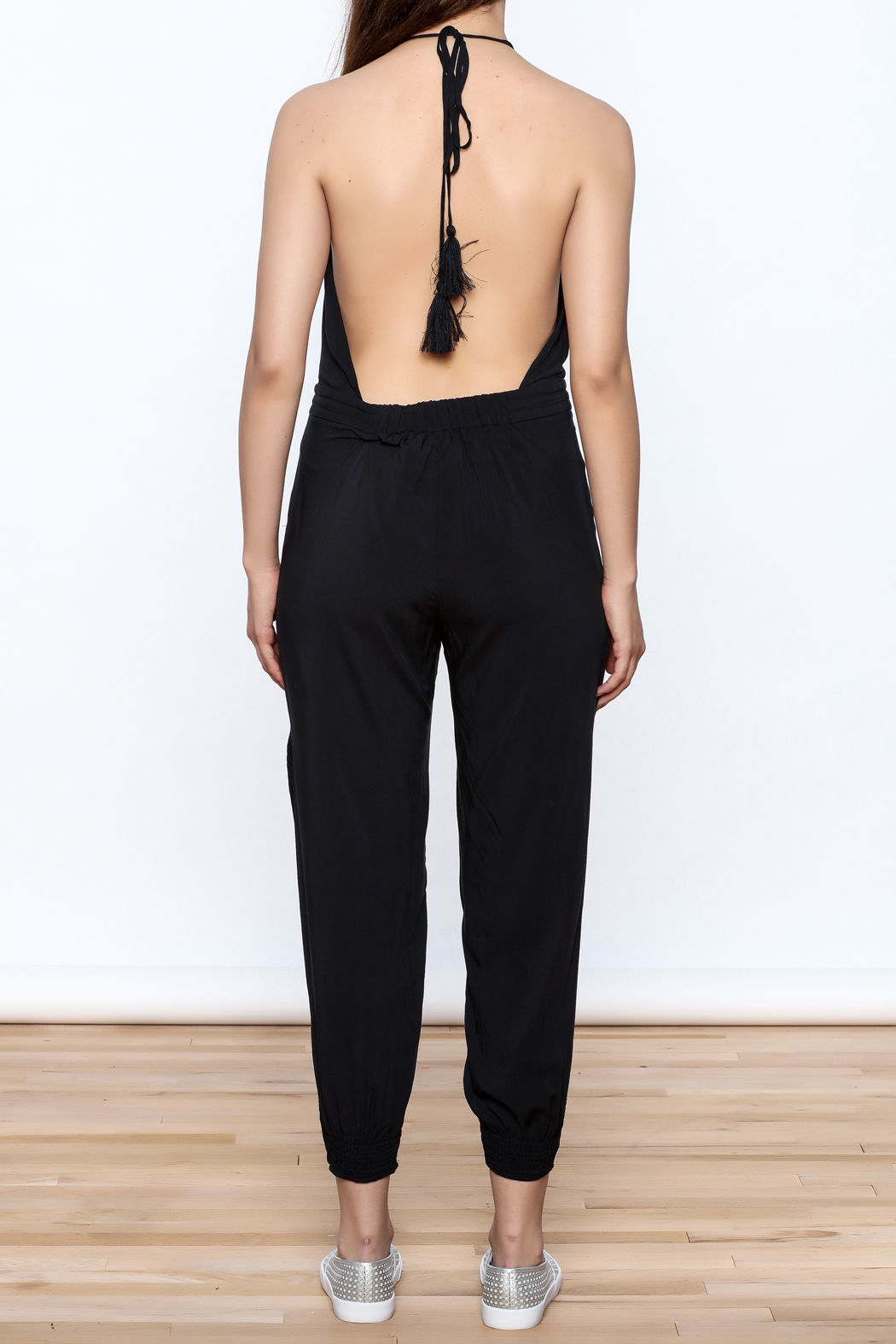Mustard Seed Charcoal Sleeveless Jumpsuit - Back Cropped Image
