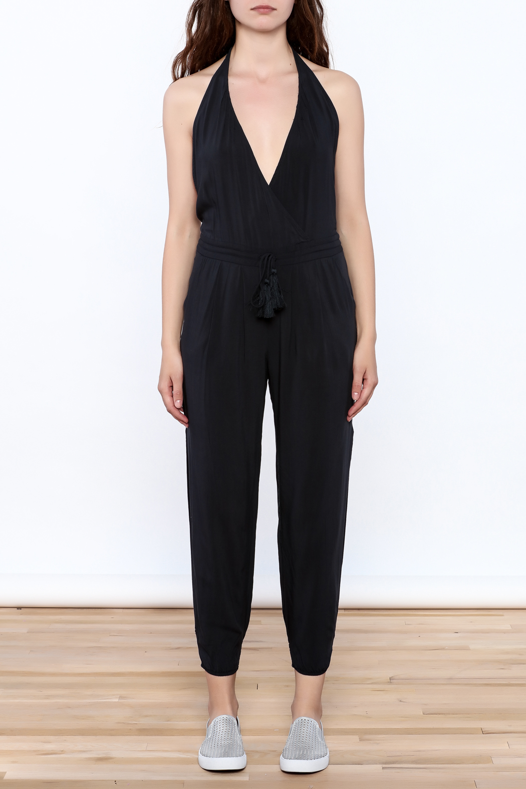Mustard Seed Charcoal Sleeveless Jumpsuit - Front Cropped Image