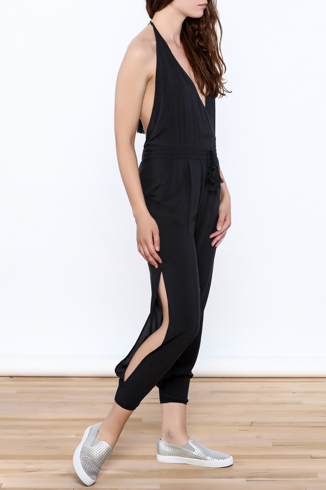 Mustard Seed Charcoal Sleeveless Jumpsuit - Main Image