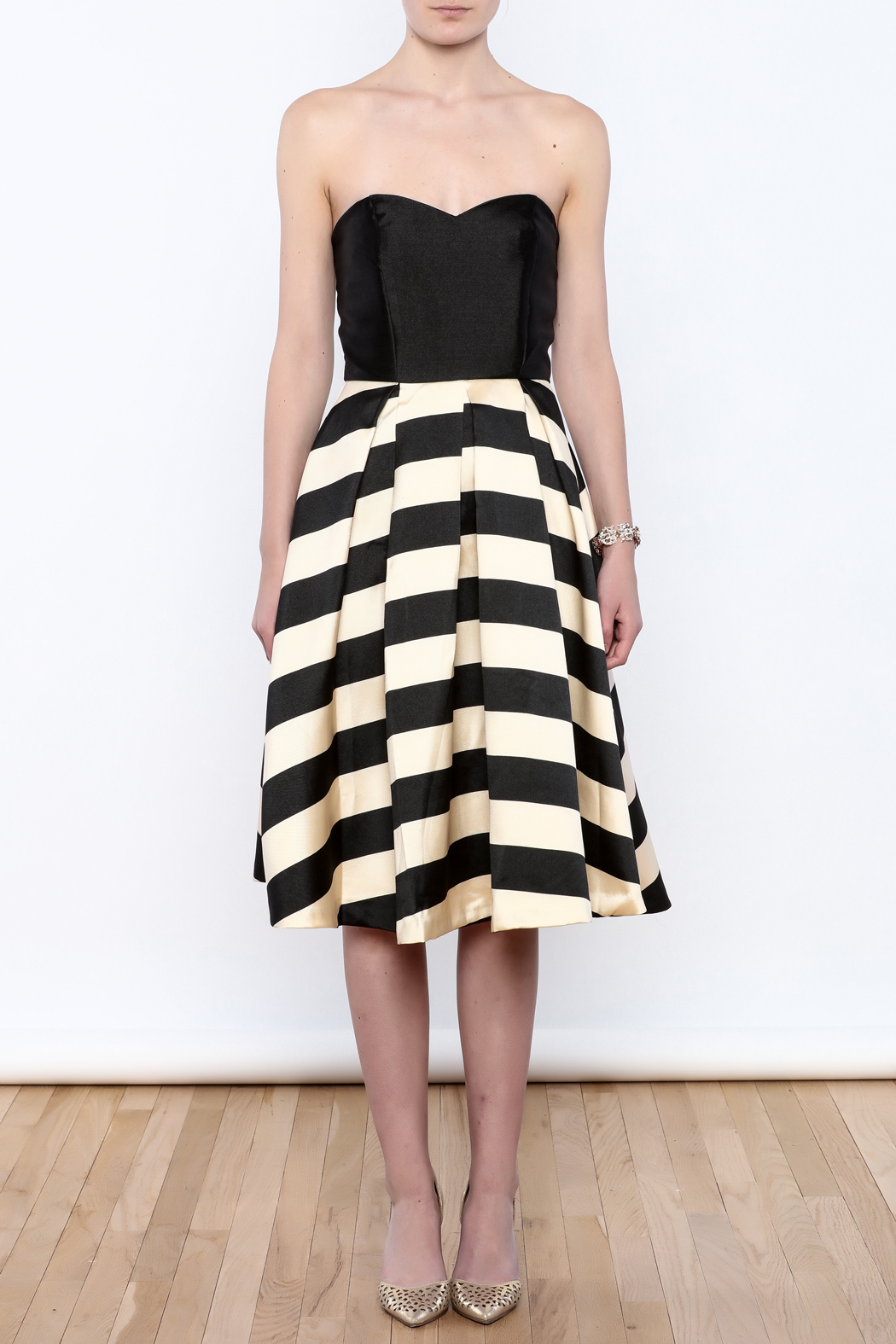 Mustard Seed Striped Flare Dress - Front Cropped Image