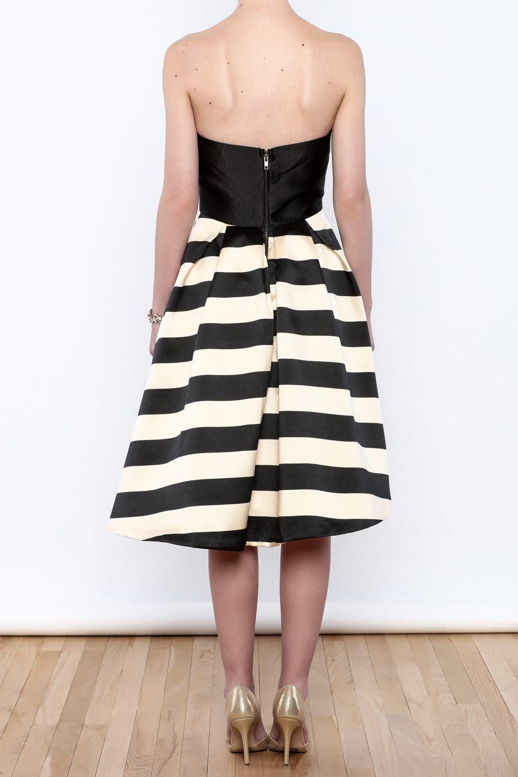 Mustard Seed Striped Flare Dress - Back Cropped Image
