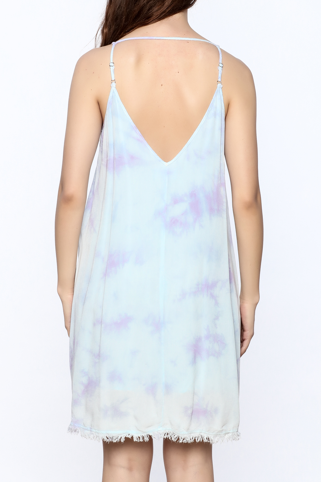 Mustard Seed Lilac Tie Dye Dress - Back Cropped Image