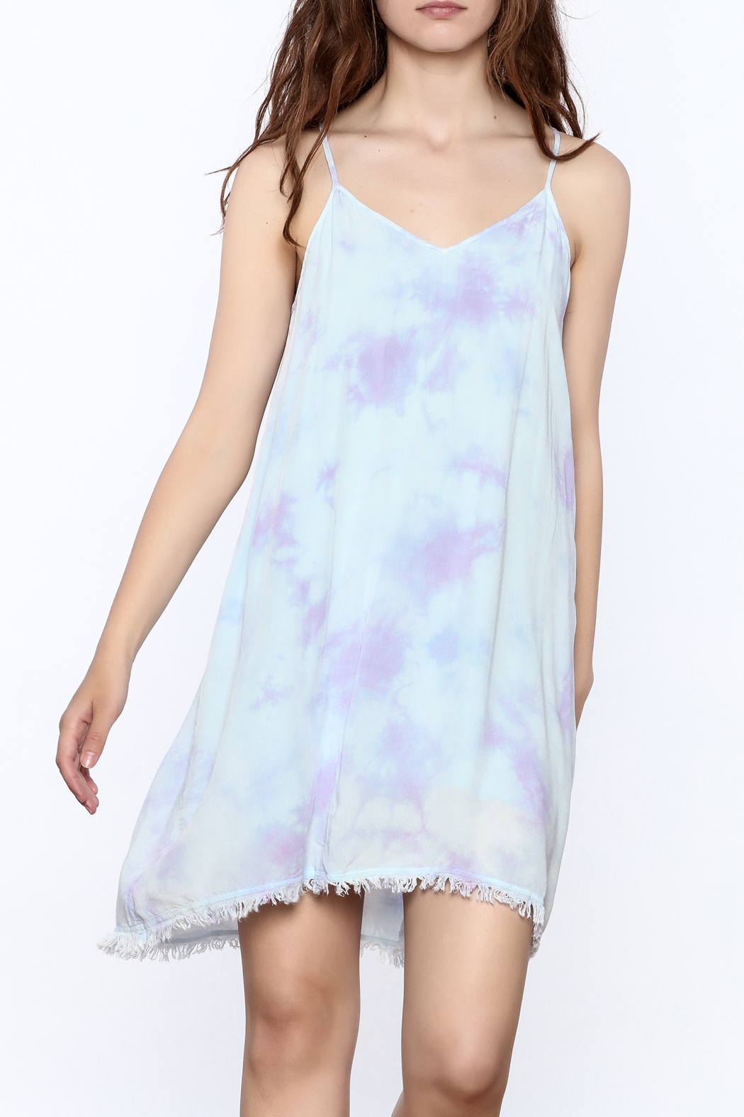 Mustard Seed Lilac Tie Dye Dress - Front Cropped Image