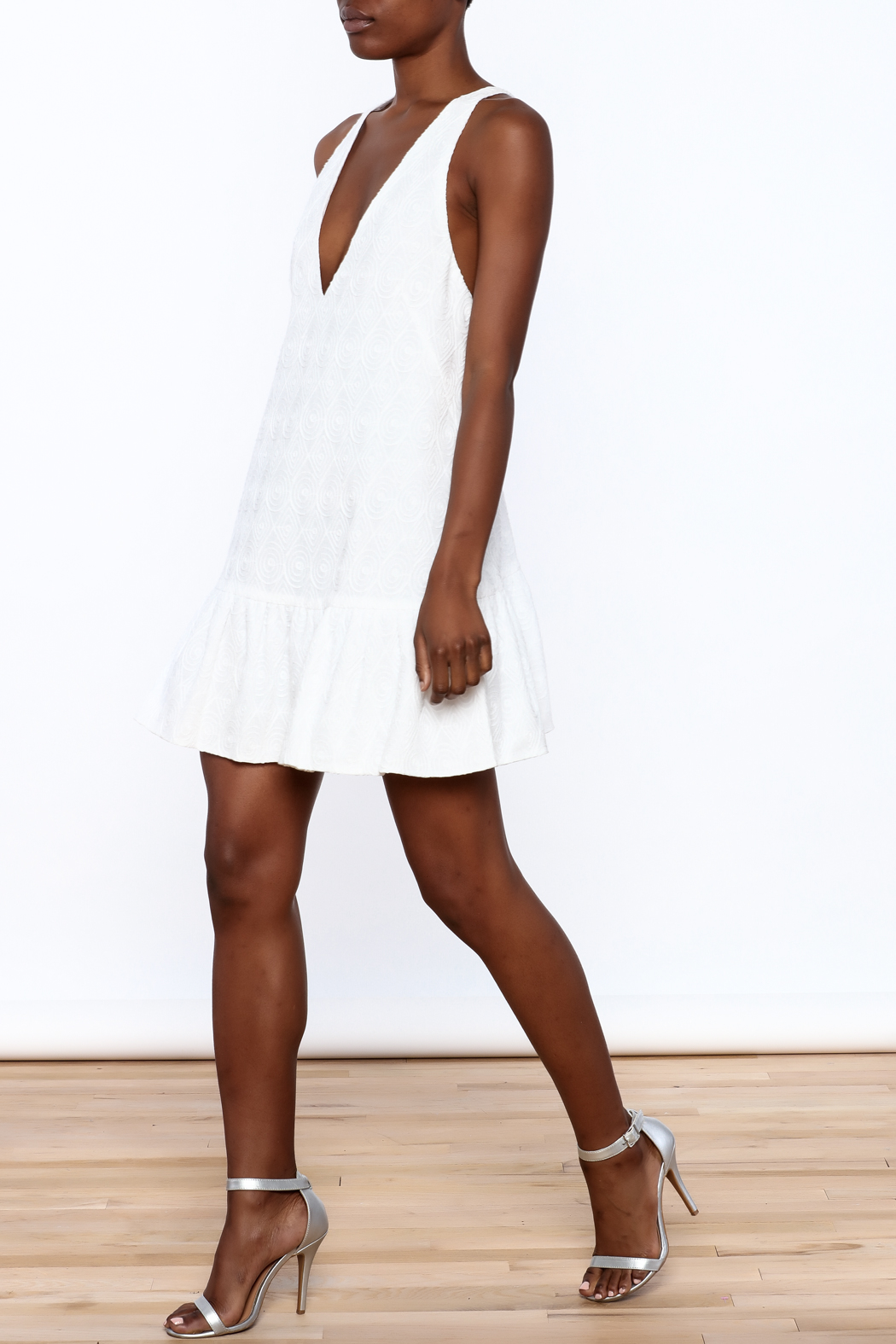 Mustard Seed White Flare Dress - Front Full Image