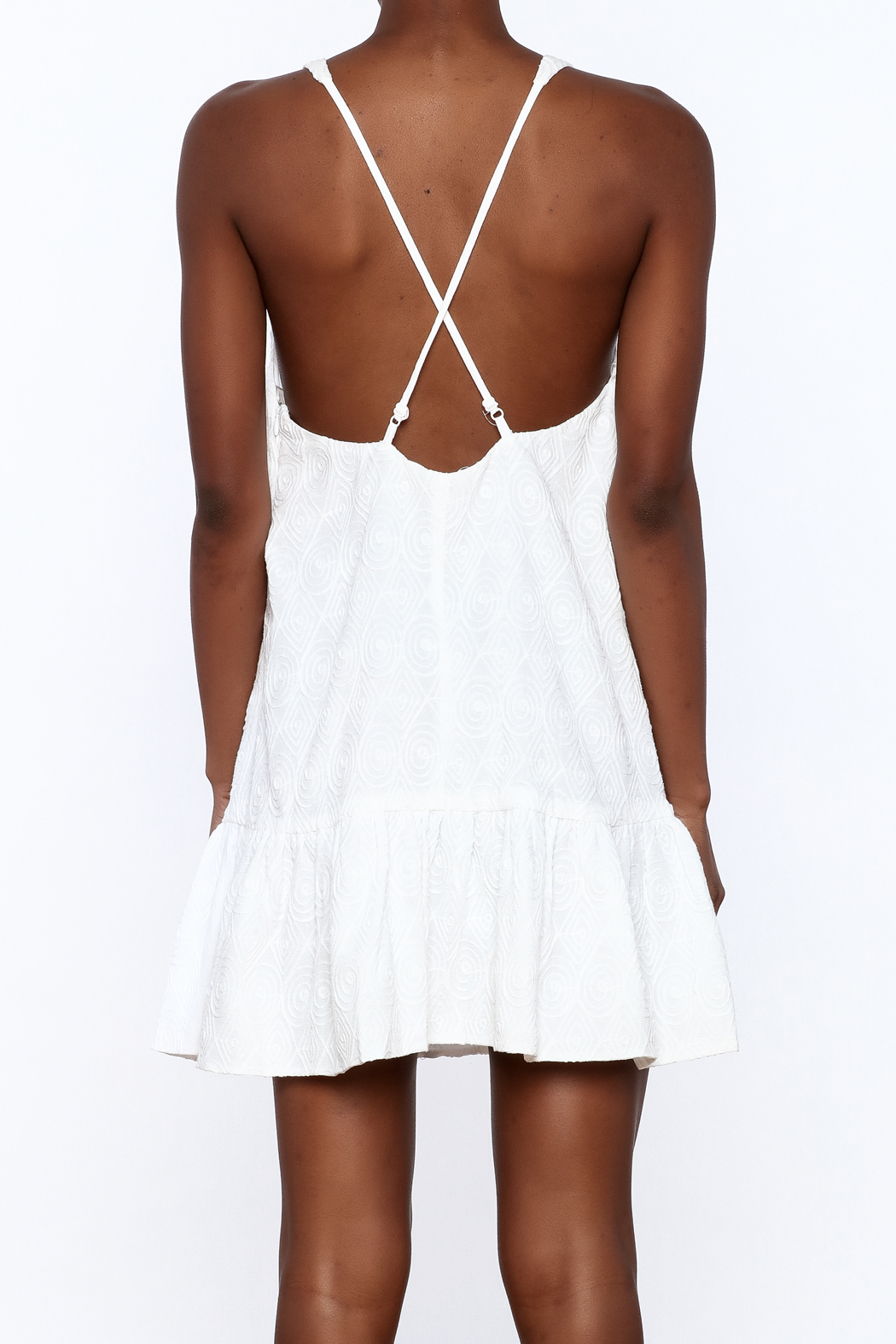 Mustard Seed White Flare Dress - Back Cropped Image