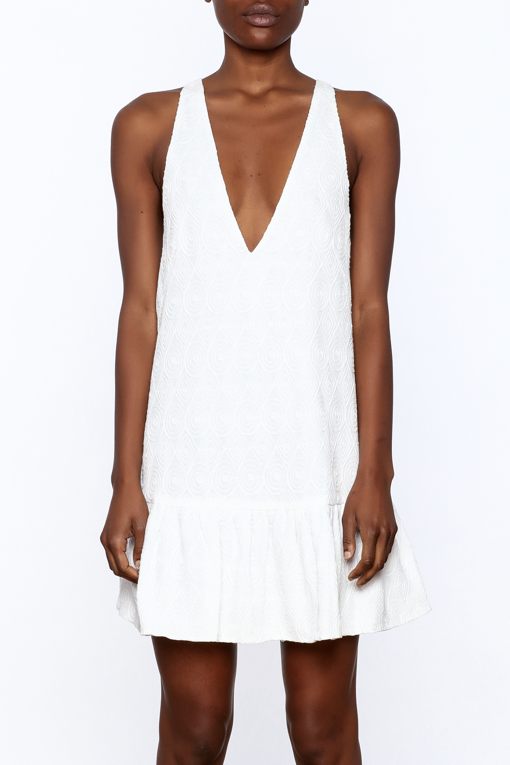 Mustard Seed White Flare Dress - Side Cropped Image