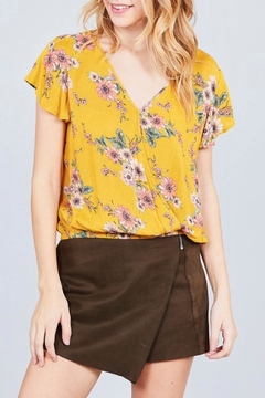 Active Basic Mustard Wrap Top - Product List Image