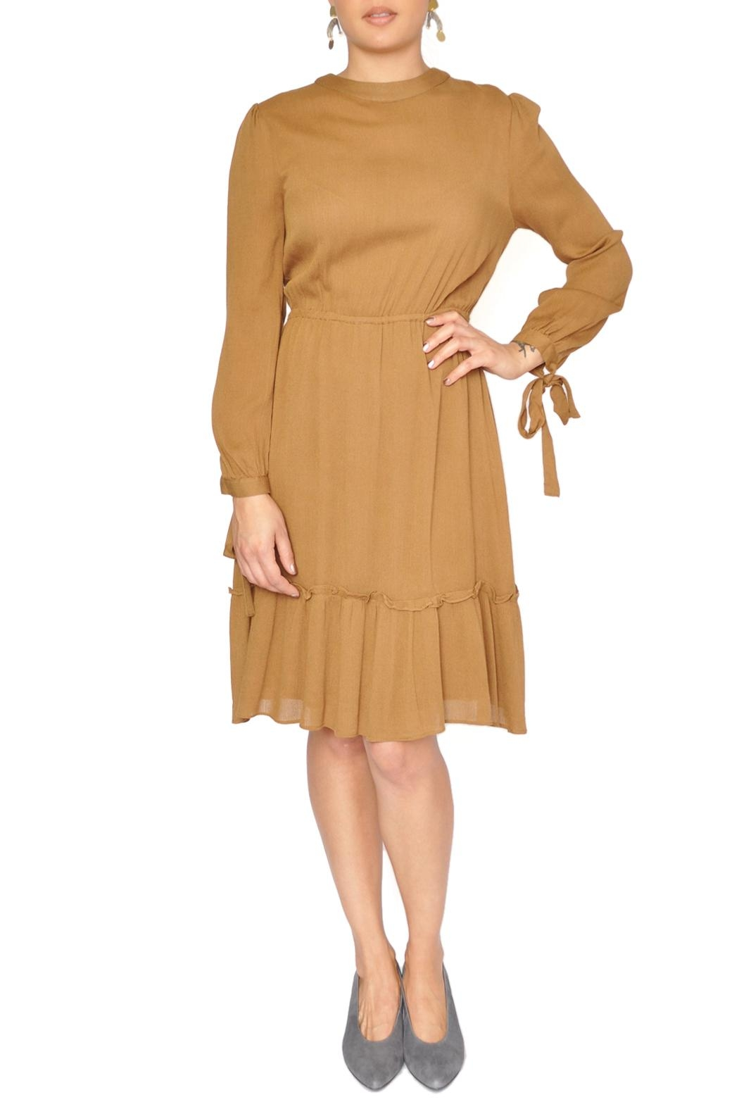 Moon River Mustard Yellow Dress - Front Cropped Image