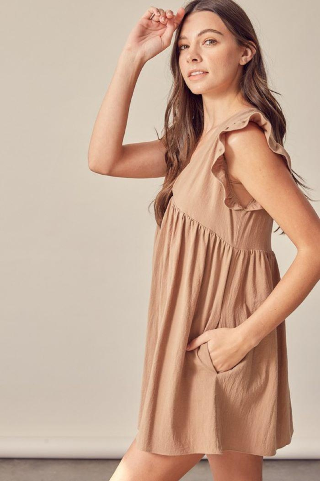 Mustard Seed Baby Doll V Neck Dress - Side Cropped Image