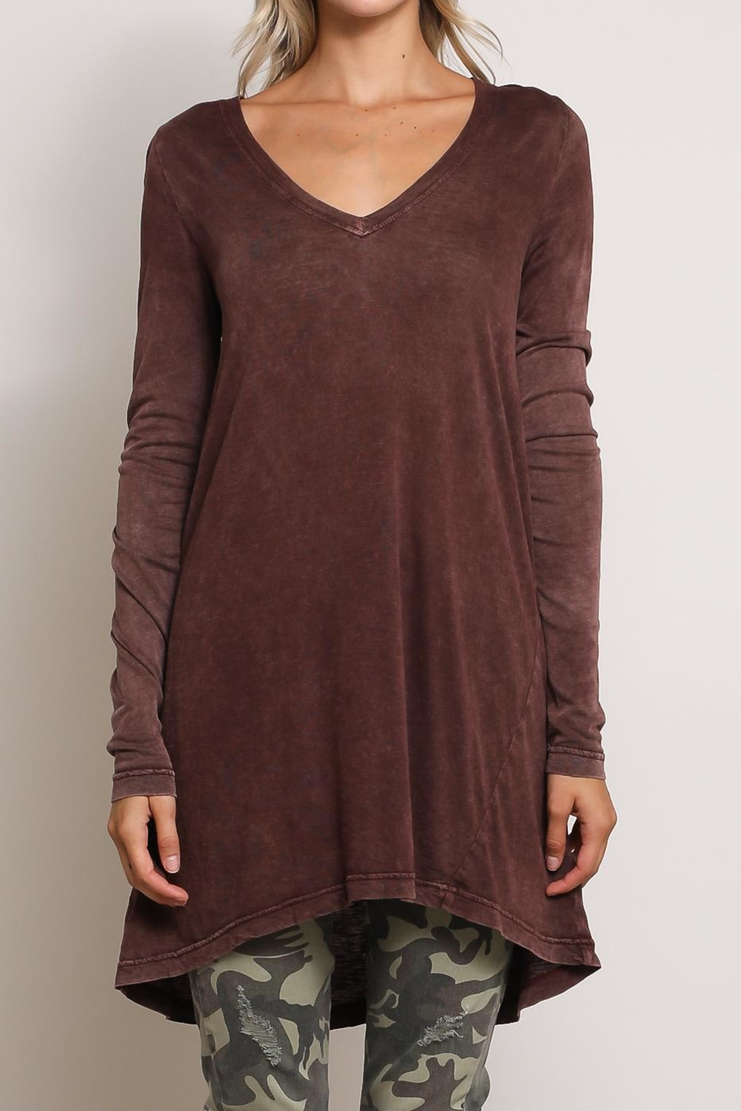 Mustard Seed Basic V Neck Top - Side Cropped Image