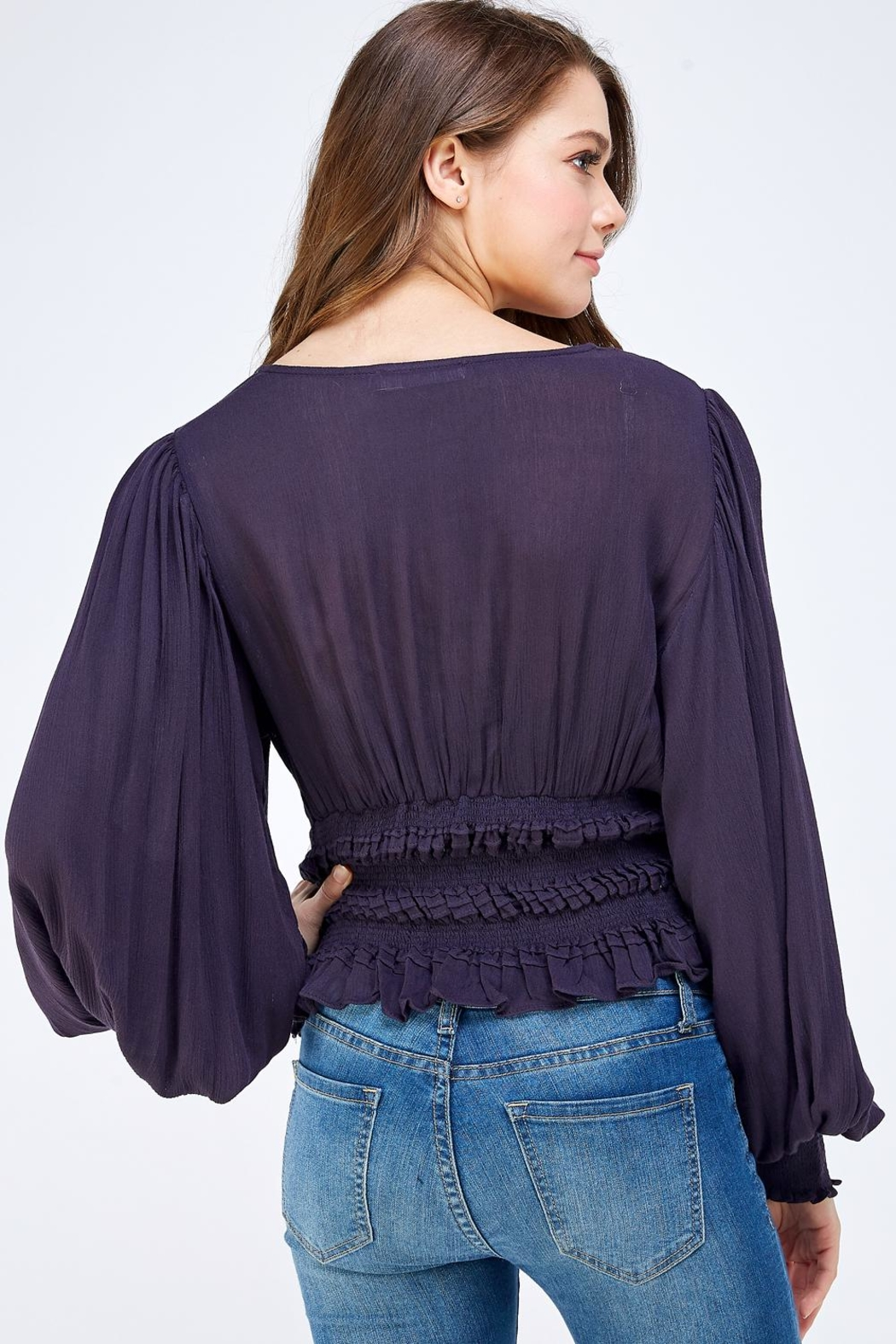 Mustard Seed Bell Sleeve Blouse - Back Cropped Image
