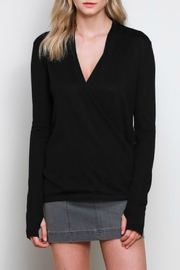 Mustard Seed Black Draped Sweater - Product Mini Image
