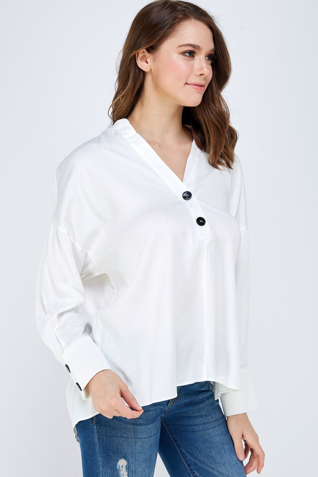 Mustard Seed Button Detail Blouse - Side Cropped Image