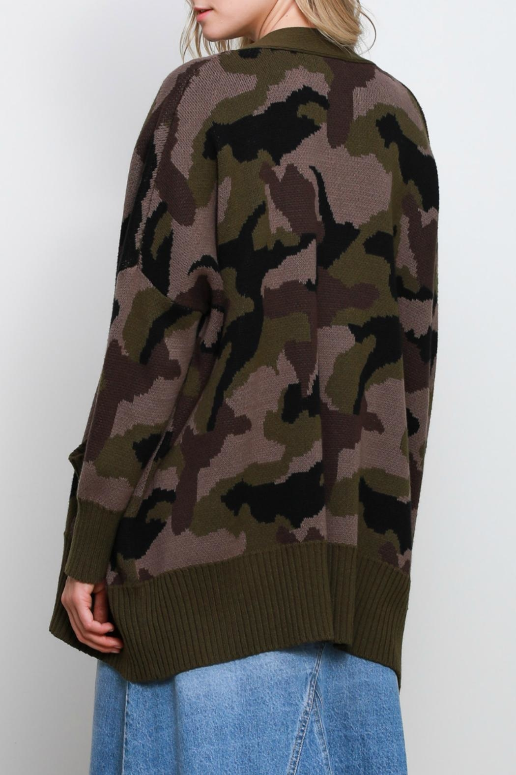 Mustard Seed Camo Oversize Cardigan - Side Cropped Image