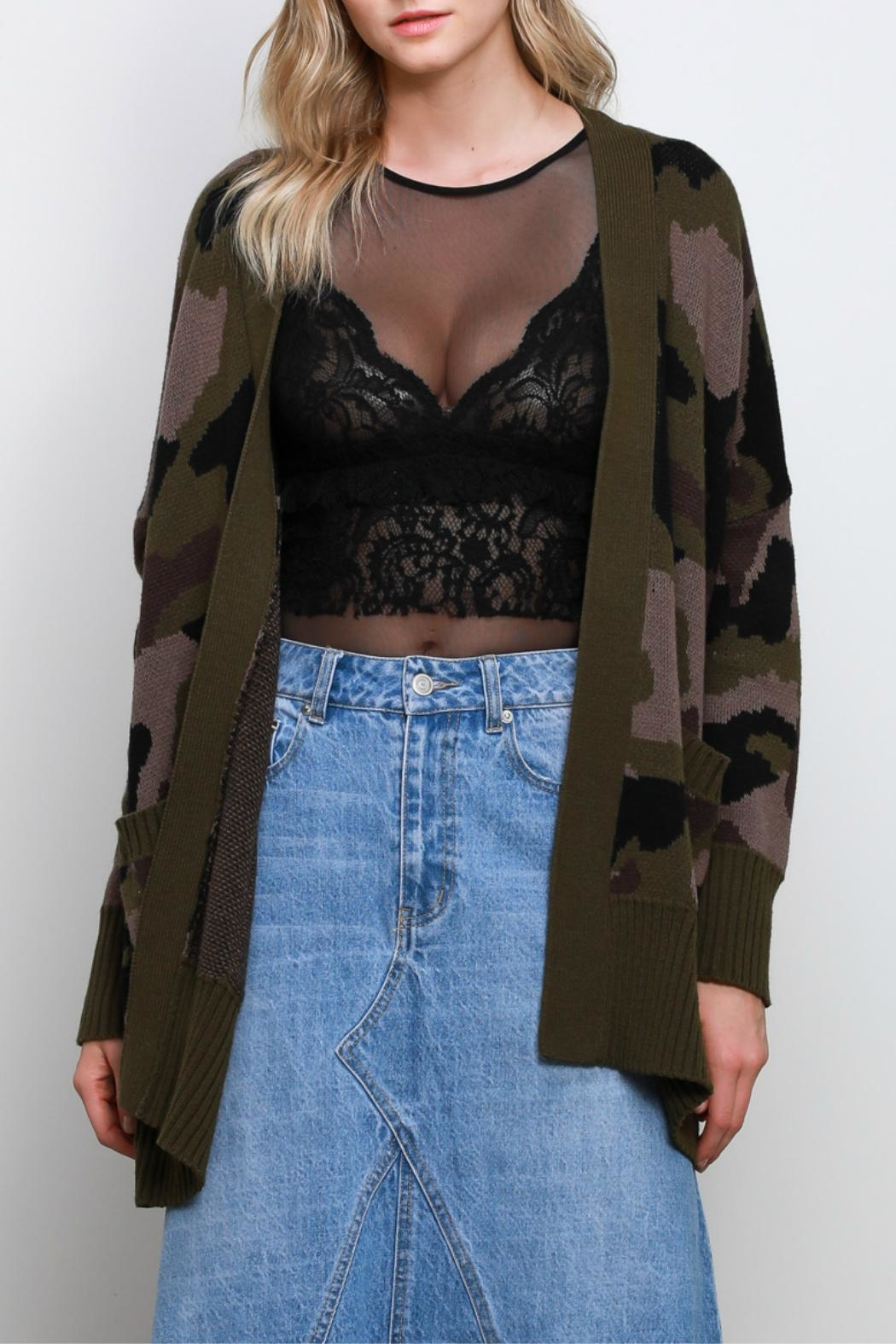Mustard Seed Camo Oversize Cardigan - Front Cropped Image
