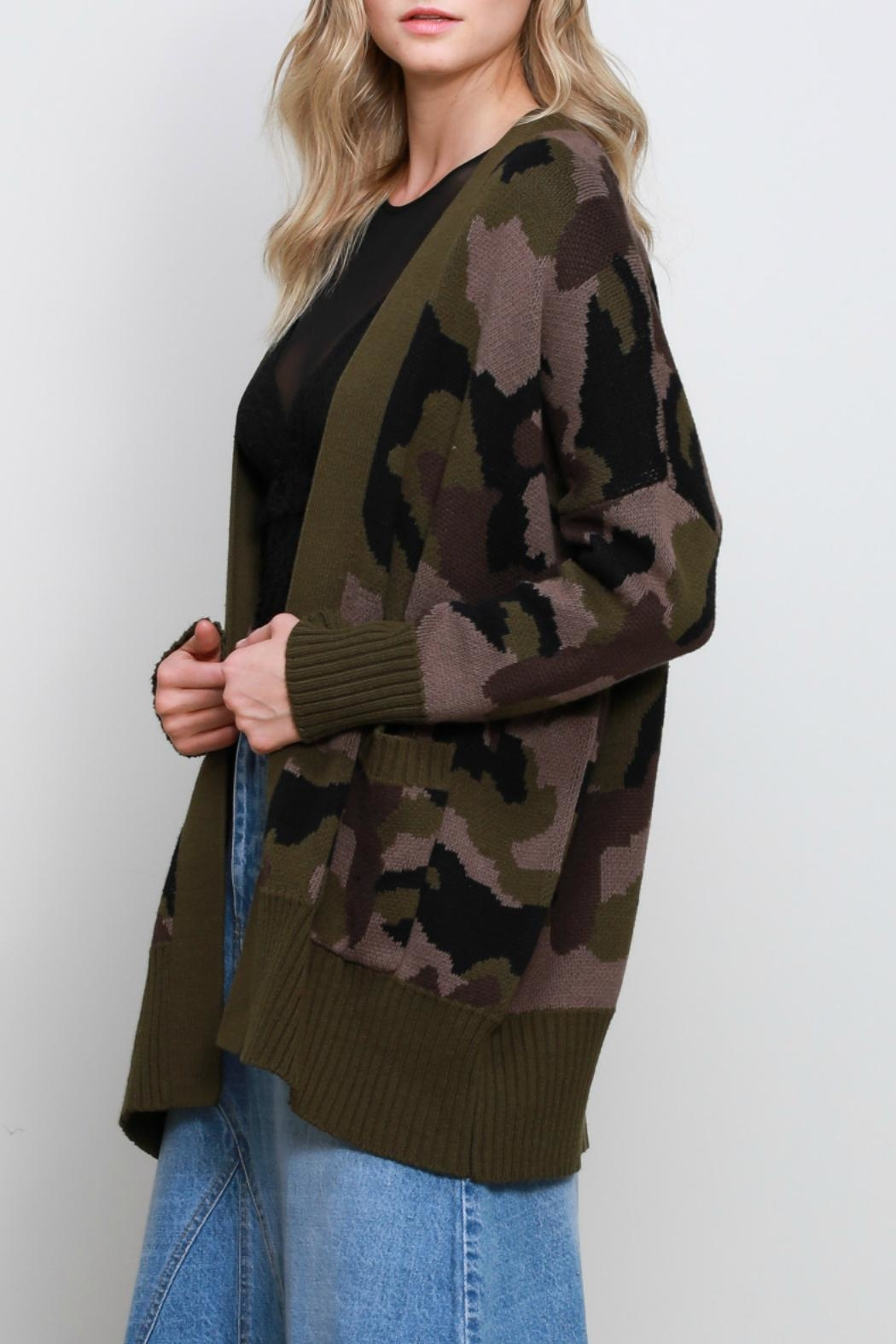 Mustard Seed Camo Oversize Cardigan - Front Full Image