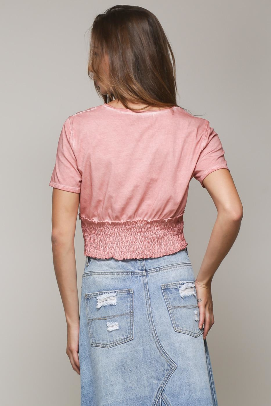 Mustard Seed Corsette Bottom Blouse - Back Cropped Image