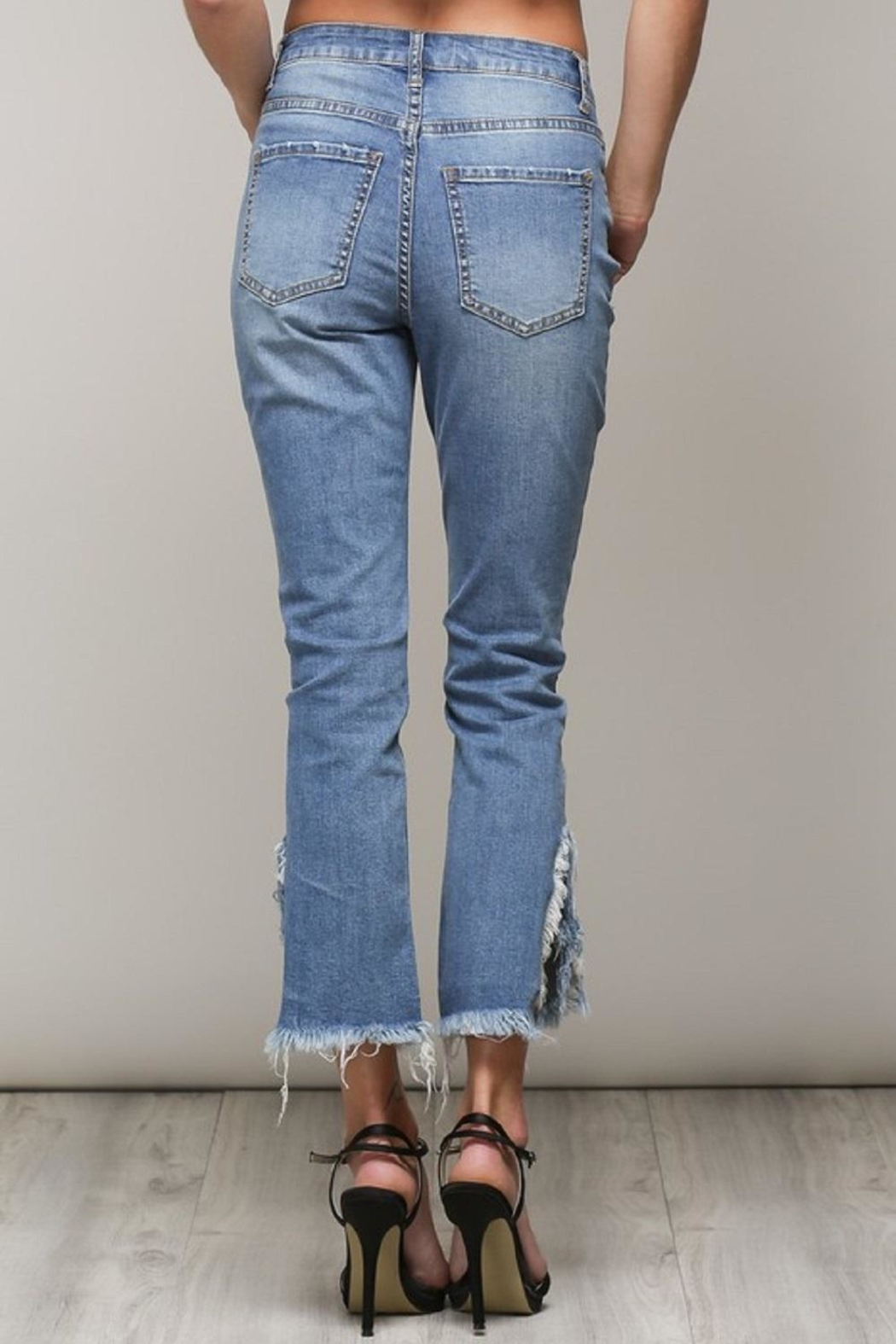Mustard Seed Distressed Frayed Jeans - Side Cropped Image