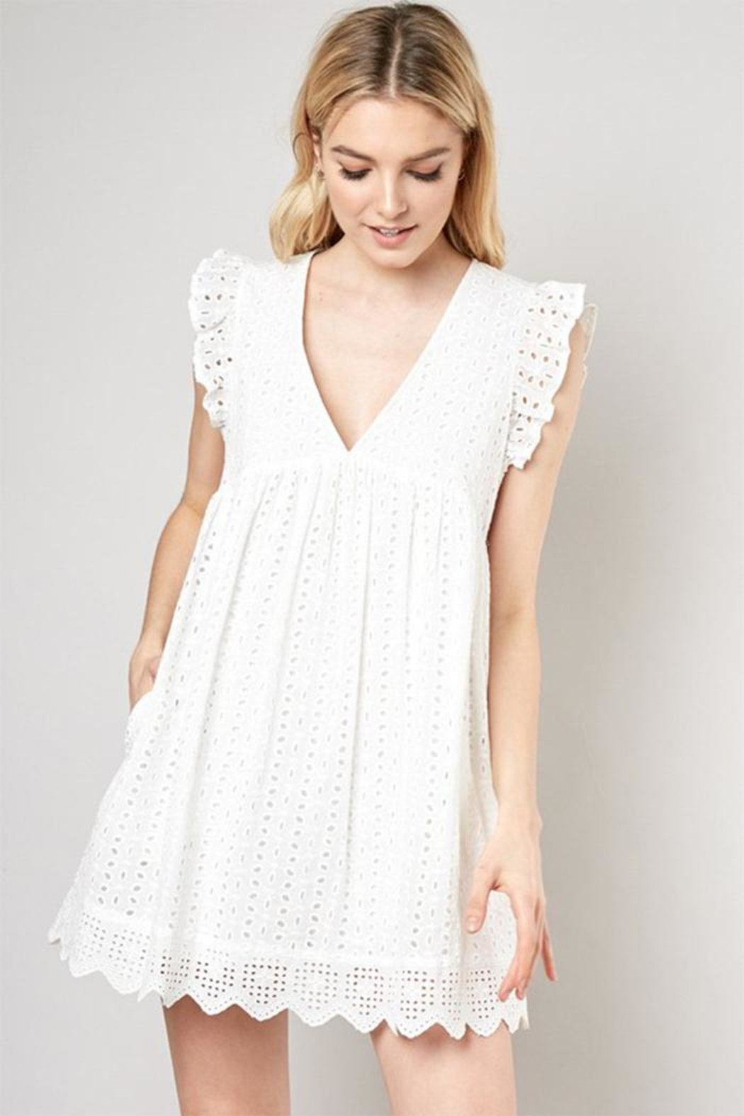Mustard Seed Embroidered Lace Romper - Main Image