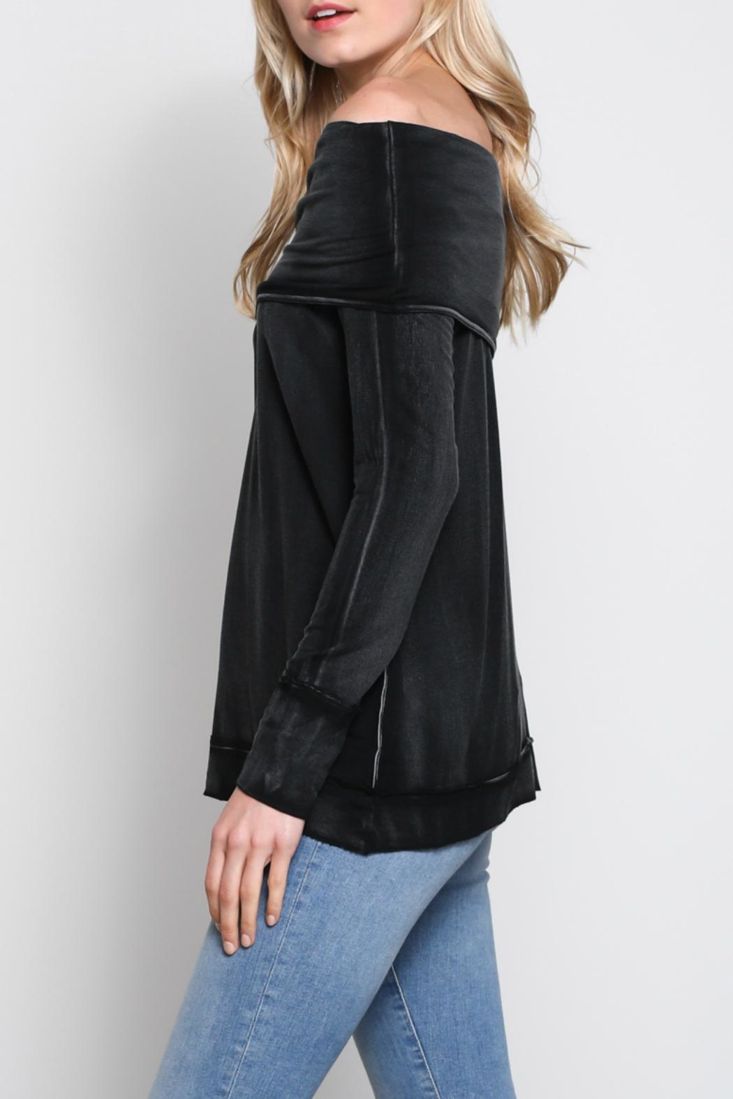 Mustard Seed Folded Off-The-Shoulder Top - Side Cropped Image