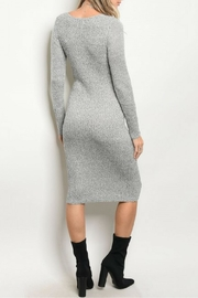 Mustard Seed Gray Ribbed Dress - Front full body