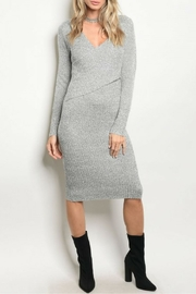 Mustard Seed Gray Ribbed Dress - Front cropped