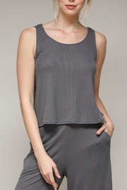 Mustard Seed Grey Tie Tank - Front cropped