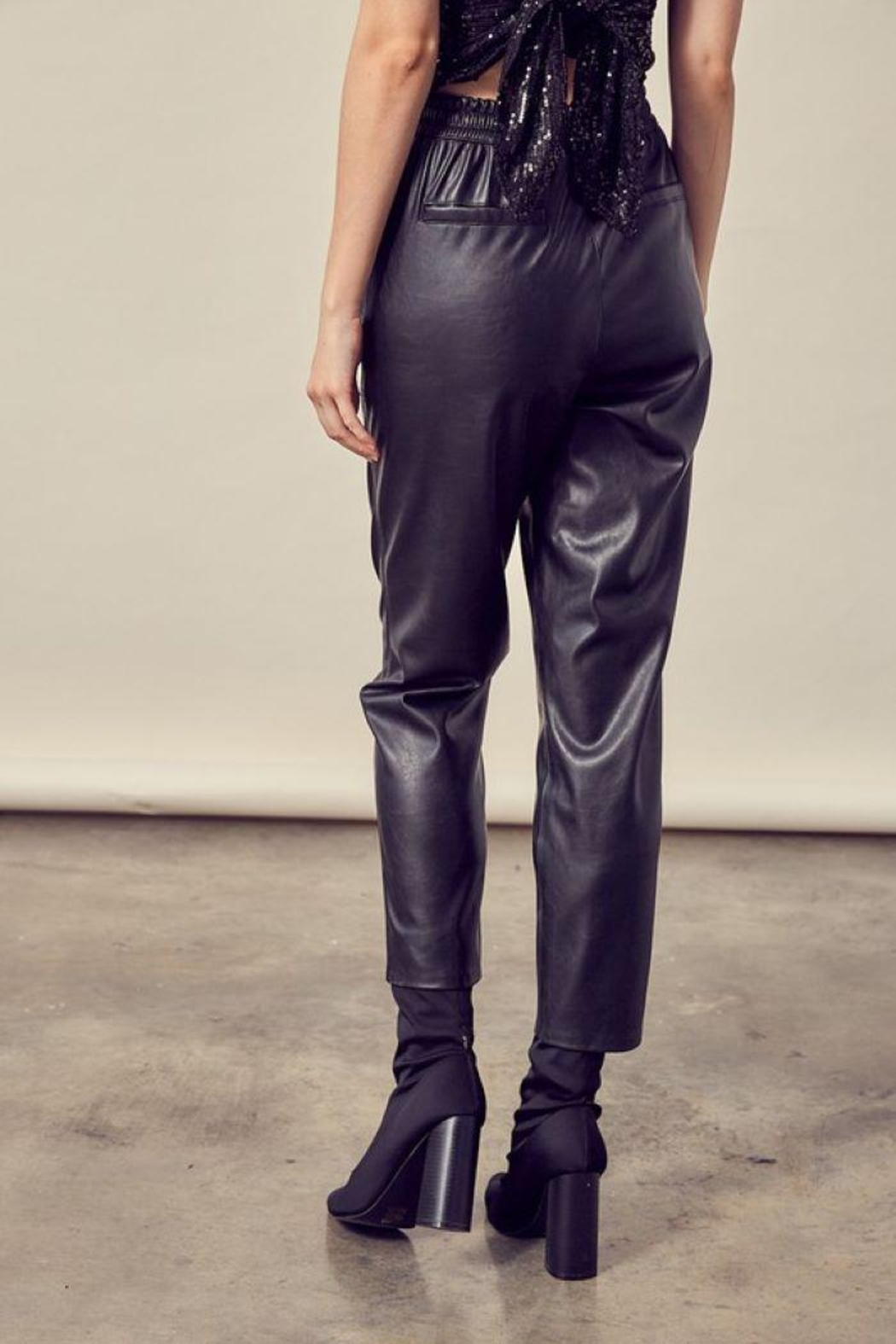 Mustard Seed Knitted Cropped Leather Pants - Side Cropped Image