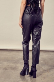 Mustard Seed Knitted Cropped Leather Pants - Side cropped