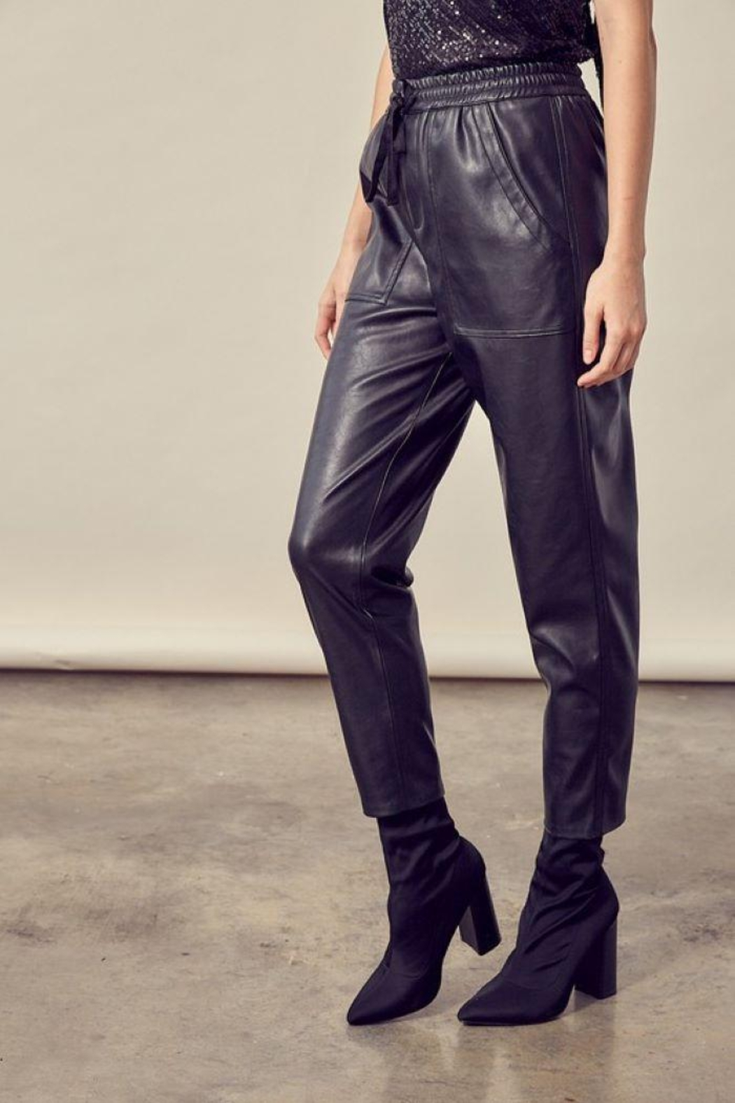 Mustard Seed Knitted Cropped Leather Pants - Back Cropped Image