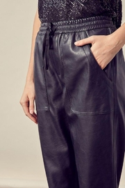 Mustard Seed Knitted Cropped Leather Pants - Front full body