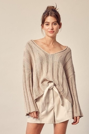 Mustard Seed Knitted Neck Line Detail Sweater - Front cropped