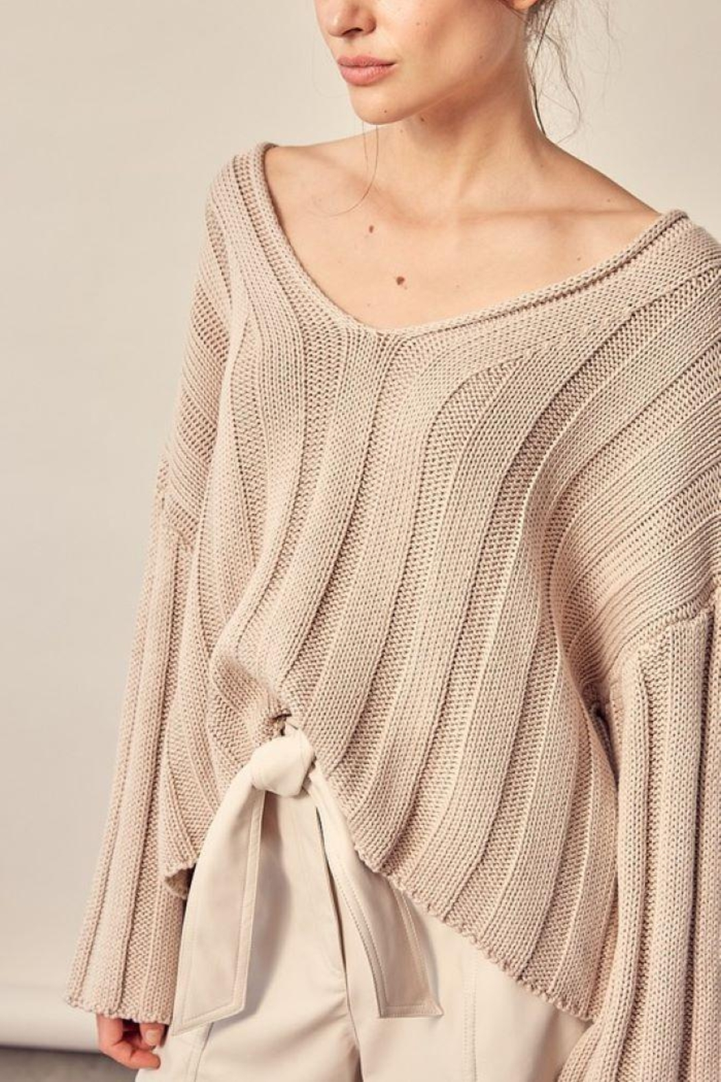 Mustard Seed Knitted Neck Line Detail Sweater - Back Cropped Image