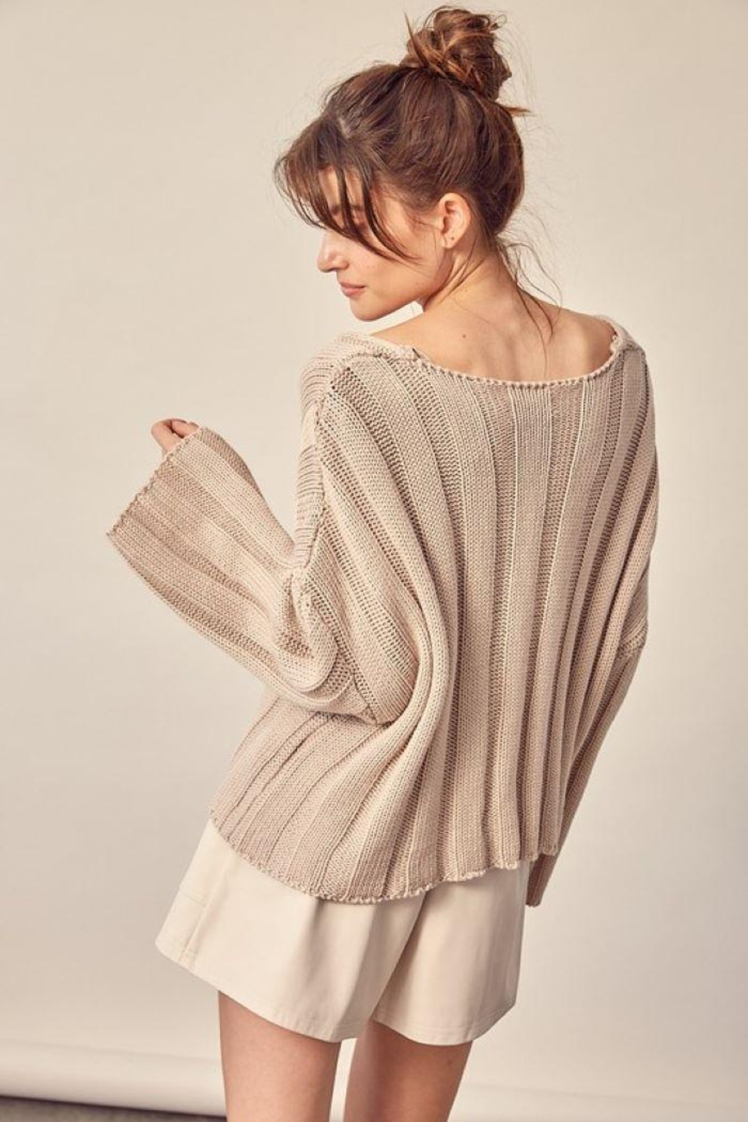 Mustard Seed Knitted Neck Line Detail Sweater - Side Cropped Image