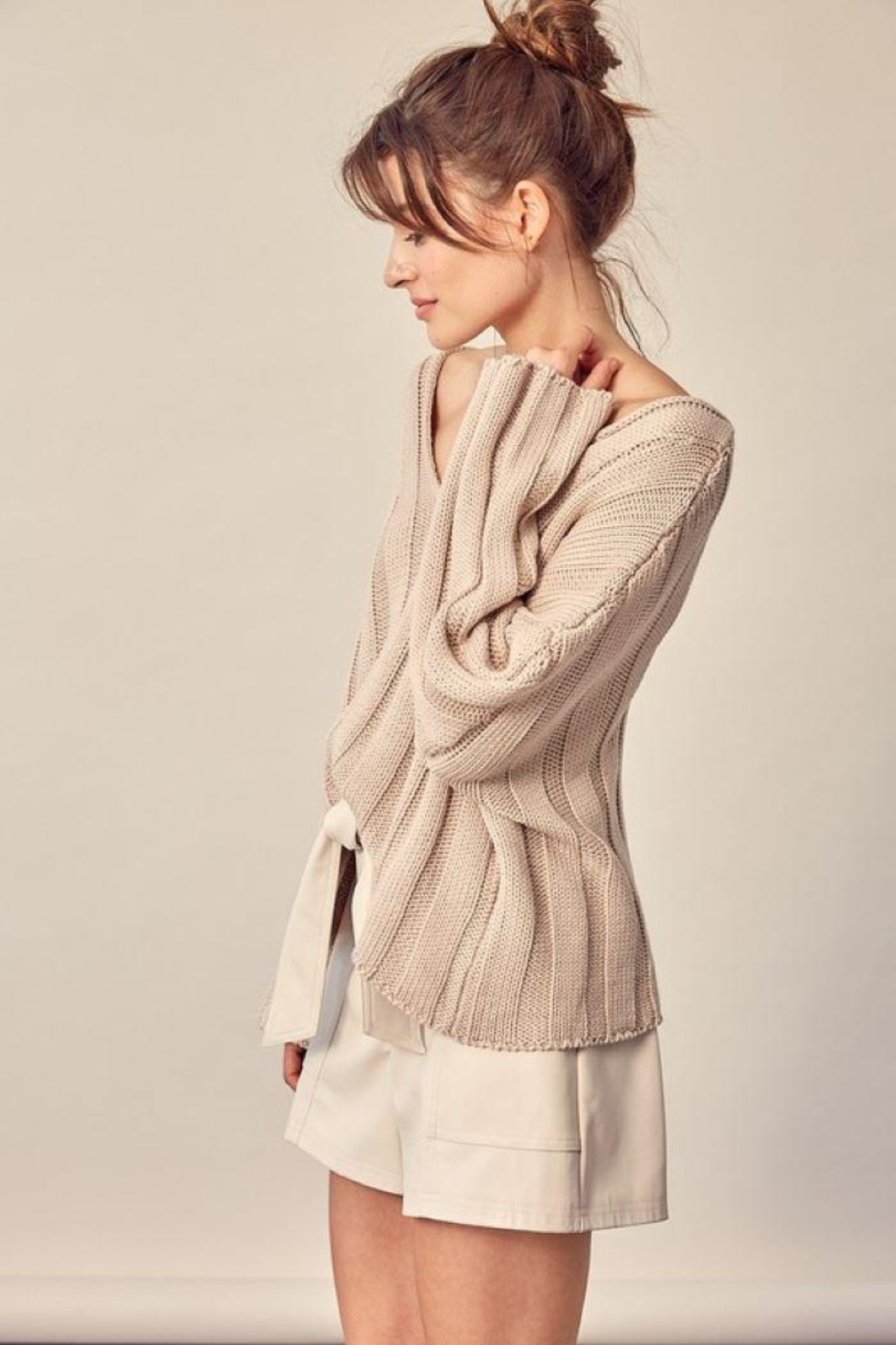 Mustard Seed Knitted Neck Line Detail Sweater - Front Full Image