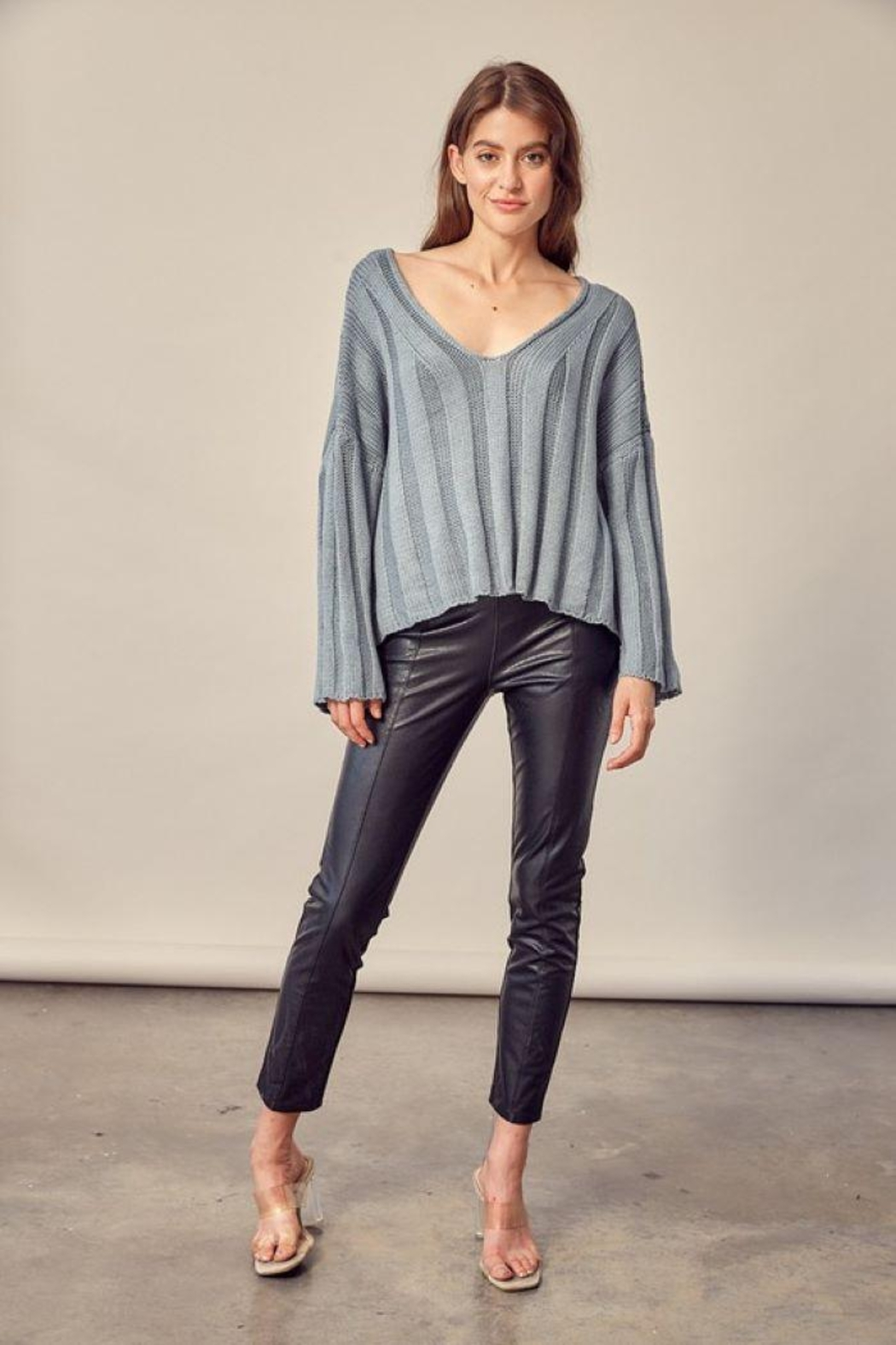 Mustard Seed Knitted Neck Line Detail Sweater - Front Cropped Image